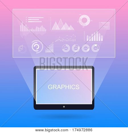 Graphic diagrams and tablet with white inscription. Elements for presentations on modern gadgets in flat style. Business concept diagrams demonstrating by map-board on transparent background