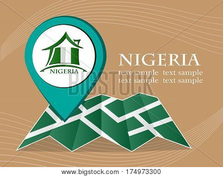 map with pointer flag Nigeria vector illustration eps 10.
