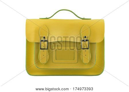 Yellow Satchel isolated on a white background