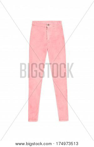 Salmon Pink Skinny High Waist Jeans Pants, Isolated