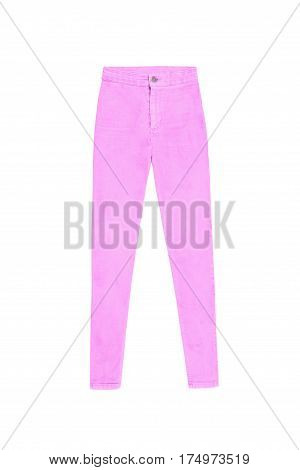 Pink Skinny High Waist Jeans Pants, Isolated On White Background