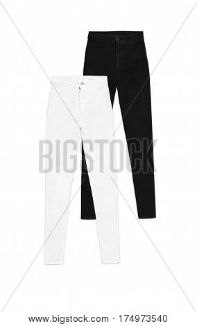 Two High Waist Skinny Jeans Pants, Isolated On White Background, White An Black