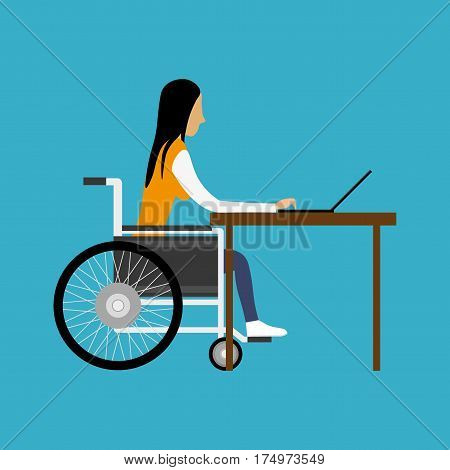 Girl handicapped working on computer on blue background