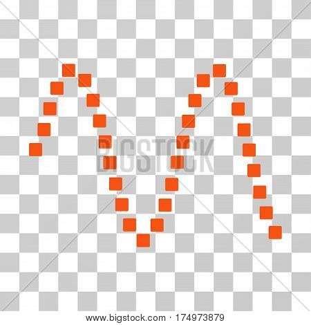 Sinusoid icon. Vector illustration style is flat iconic symbol, orange color, transparent background. Designed for web and software interfaces.
