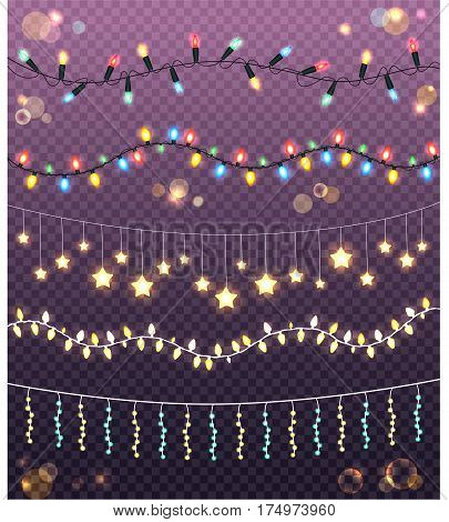 Garlands collection on transparent background. Vector illustration of ropes with many colourful and yellow bulbs in star shape. Abstract creative realistic luminous bulbs for holiday decoration.