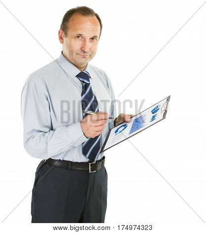 closeup of a senior accountant with financial graph on white background. the photo has an empty space for your text