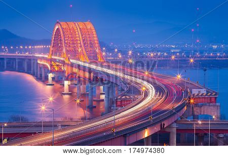 Banghwa bridge and han river in Korea South Korea
