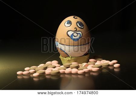 Birth control pills lonely sad egg face