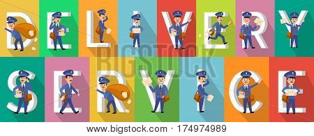 DELIVERY SERVICE colourful picture collection of pictures with postman character set near white capital letters. Mailmen walking, carrying envelopes and parcels, hurrying and losing letters.