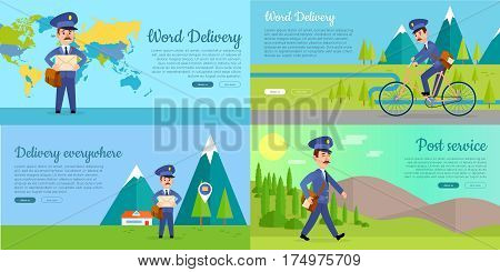 Post service web banners set. Cartoon mailman standing, walking, driving bicycle on world map, mountain landscape background flat vector illustrations. Horizontal concept for mail company landing page