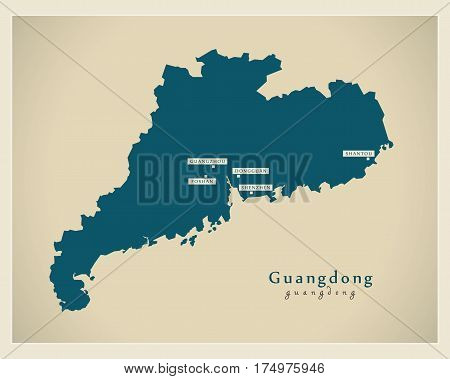Modern Map - Guangdong Cn Region Illustration Silhouette