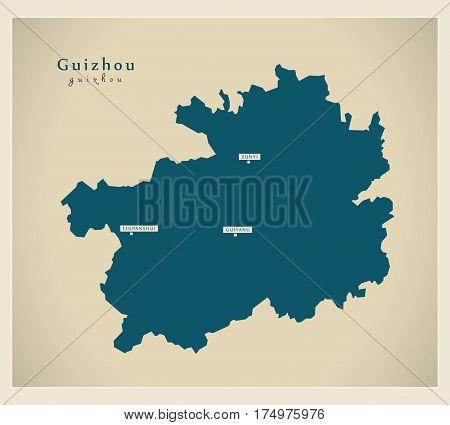 Modern Map - Guizhou Cn Region Illustration Silhouette
