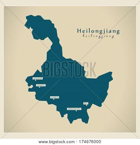 Modern Map - Heilongjiang Cn Region Illustration Silhouette