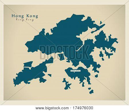 Modern Map - Hong Kong Cn Region Illustration Silhouette