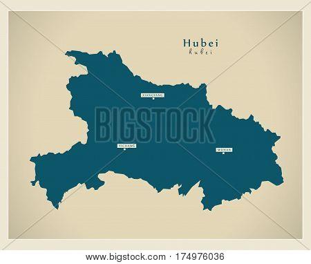 Modern Map - Hubei Cn Region Illustration Silhouette