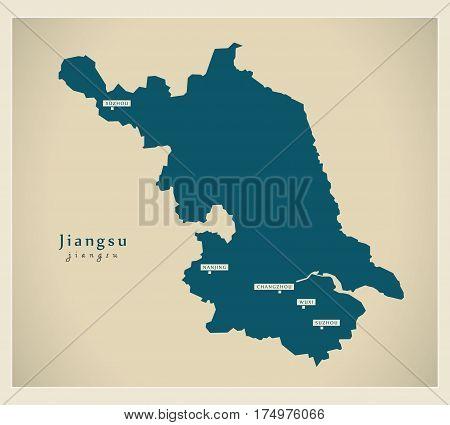 Modern Map - Jiangsu Cn Region Illustration Silhouette