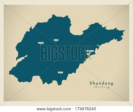Modern Map - Shandong Cn Region Illustration Silhouette