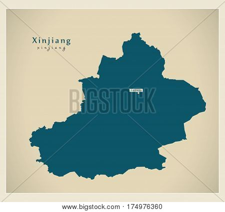 Modern Map - Xinjiang Cn Region Illustration Silhouette