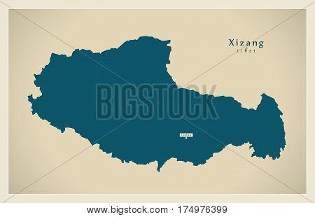 Modern Map - Xizang [tibet] Cn Region Illustration Silhouette