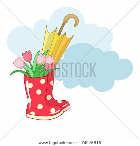 Red dotted rubber boots with a bouquet of tulips and an umbrella. Vector illustration.