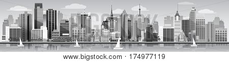 Silhouette of a city panorama . vector illustration for you project