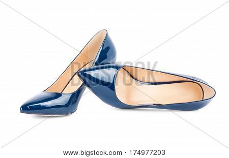 Beautiful Blue Classic Women Shoes Isolated On Background