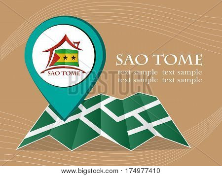 map with pointer flag Sao Tome vector illustration eps 10.