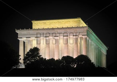 The Abraham Lincoln Memorial building illuminated at night