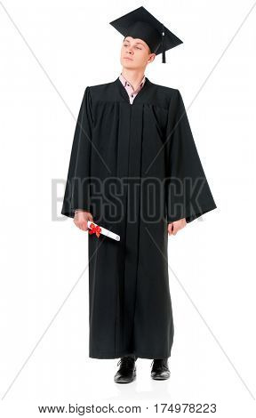Portrait of man in an academic gown holding a diploma - graduate guy student, isolated on white background