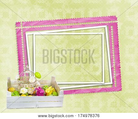 Easter Eggs And Funny Bunny With Frame On Green Background