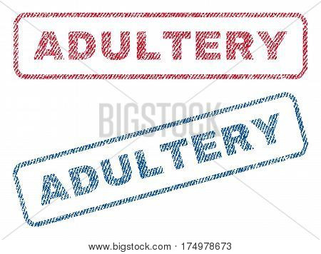 Adultery text textile seal stamp watermarks. Blue red fabric vectorized texture. Vector caption inside rounded rectangular shape. Rubber emblem with fiber textile structure.