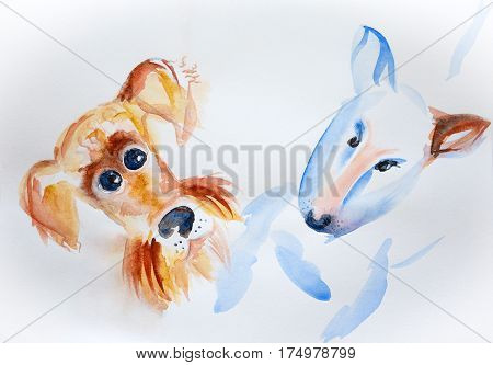 Airedale terrier and bull terrier painted in watercolor on paper