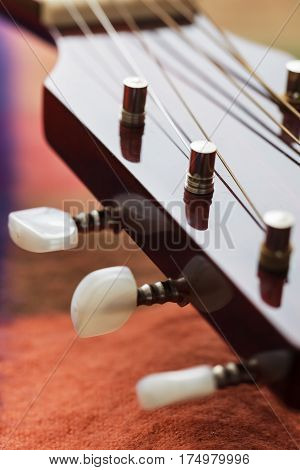 Guitar Neck With Stretched Strings. Close-up View