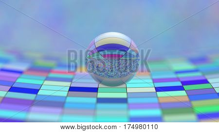 glass sphere on the cell surface, 3d illustration