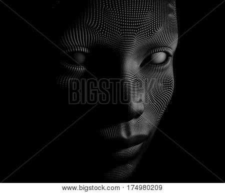 artificial face, 3d illustration