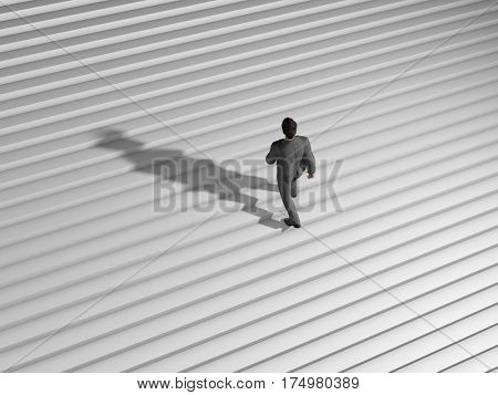 businessman walk on endless stairs, 3d illustration