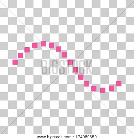 Dotted Function Line icon. Vector illustration style is flat iconic symbol, pink color, transparent background. Designed for web and software interfaces.