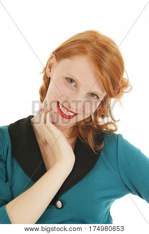 Portrait smiling attractive woman with red hair isolated over white background