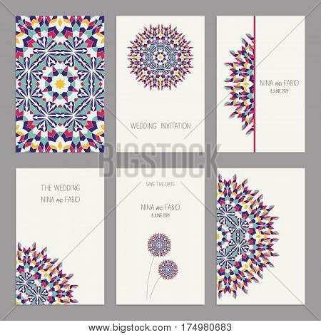 Templates for greeting and business cards, brochures, covers with floral motifs. Oriental pattern. Mandala. Wedding invitation, save the date, RSVP. Arabic, Islamic, asian, indian, african motifs.