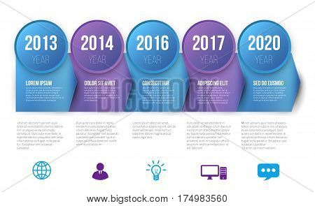 Timeline infographics with 5 steps of years or milestone colored vector template