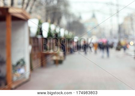 Blurred background of stalls at traditional Christmas fair