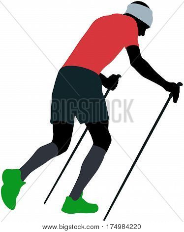 male runner with trekking poles running uphill in compression socks