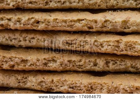 Stack of Graham Crackers Close Up on the Edges