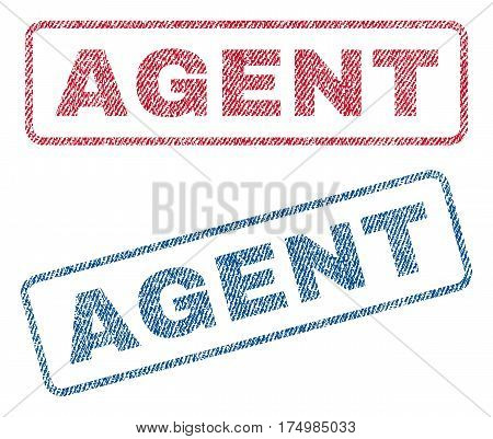 Agent text textile seal stamp watermarks. Blue red fabric vectorized texture. Vector tag inside rounded rectangular shape. Rubber sign with fiber textile structure.