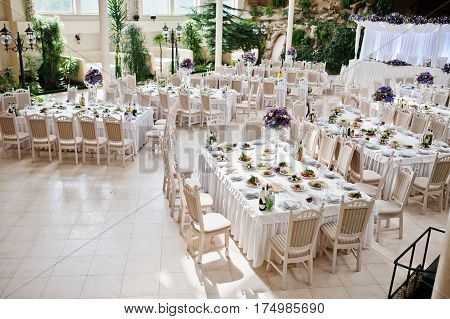 Awesome Wedding Hall With White Chairs And Purple Flowers On Tables.