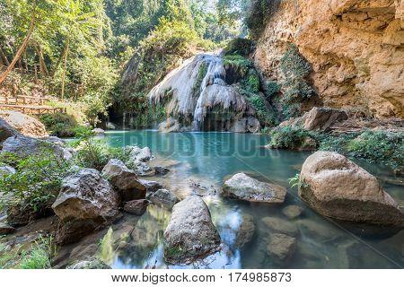 Kor Luang waterfall in Mae Ping National Park. Lamphun, Thailand.