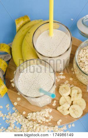 Useful banana smoothie with oatmeal ,vegetarian breakfasts