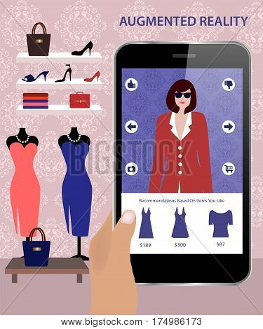 Augmented Reality application that allows customers to dress onscreen models who respond to consumers.Augmented Reality on smartphone