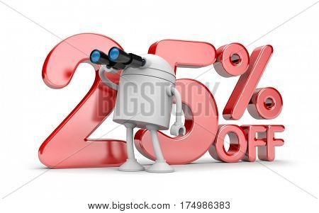 In search for new discounts. 3d illustration