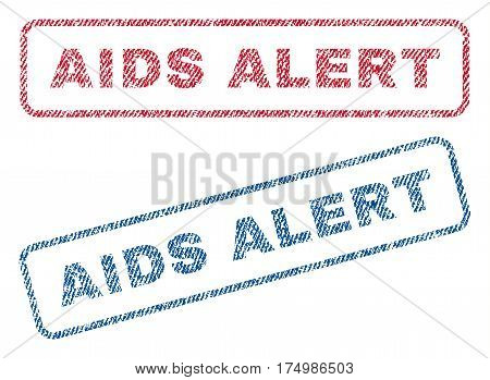 AIDS Alert text textile seal stamp watermarks. Blue red fabric vectorized texture. Vector tag inside rounded rectangular shape. Rubber sign with fiber textile structure.